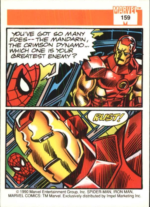 1990 Marvel Universe I #159 Iron Man back image