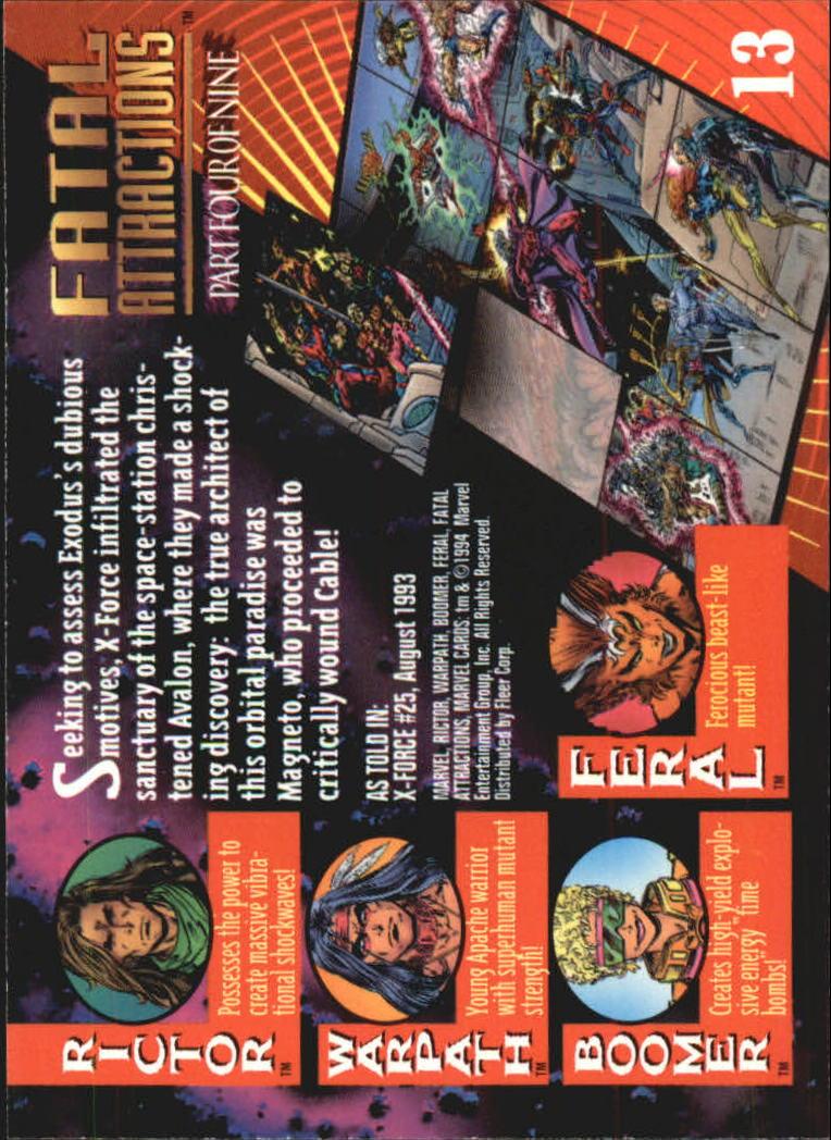 1994 Marvel Universe V #13 Rictor/Warpath/Boomer/Feral back image