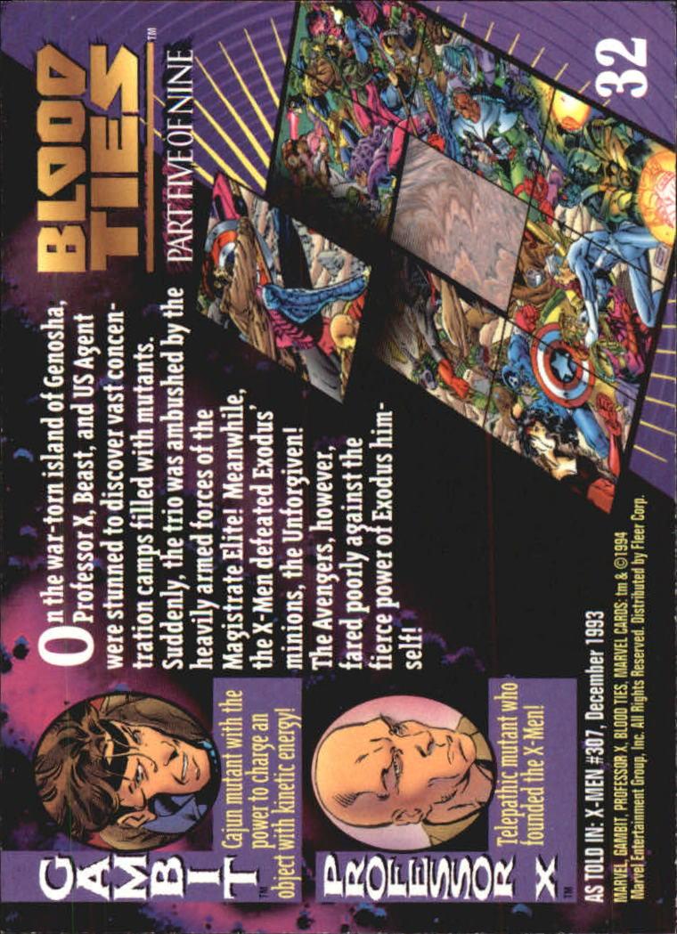 1994 Marvel Universe V #32 Gambit and Professor X back image