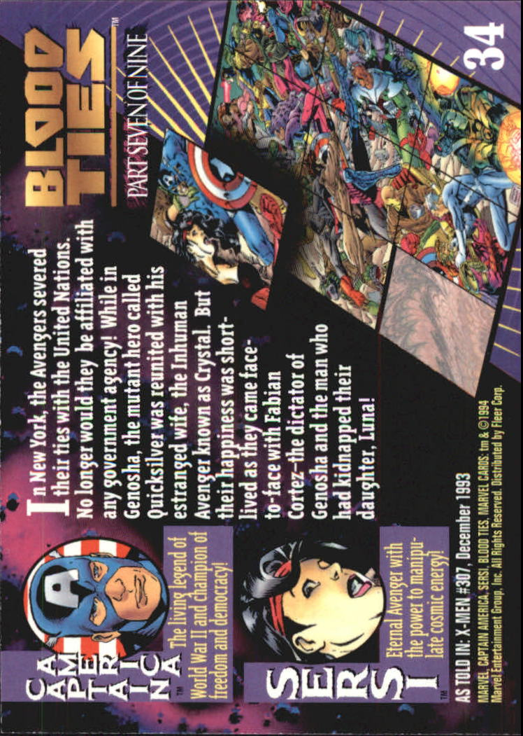 1994 Marvel Universe V #34 Sersi and Captain America back image