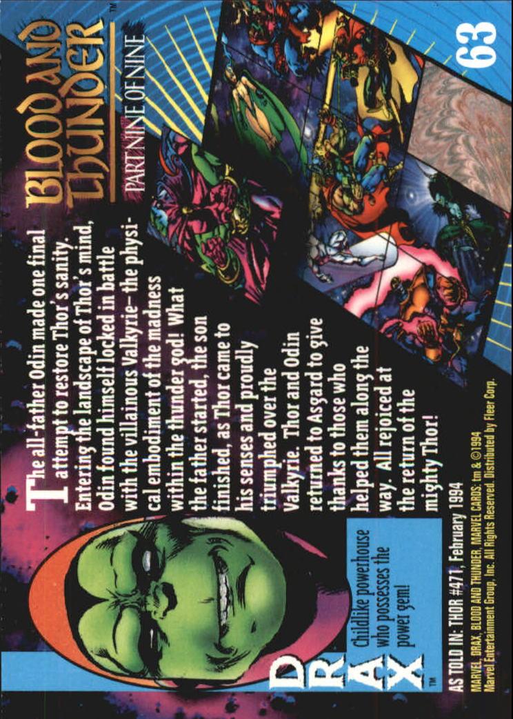 1994 Marvel Universe V #63 Drax back image