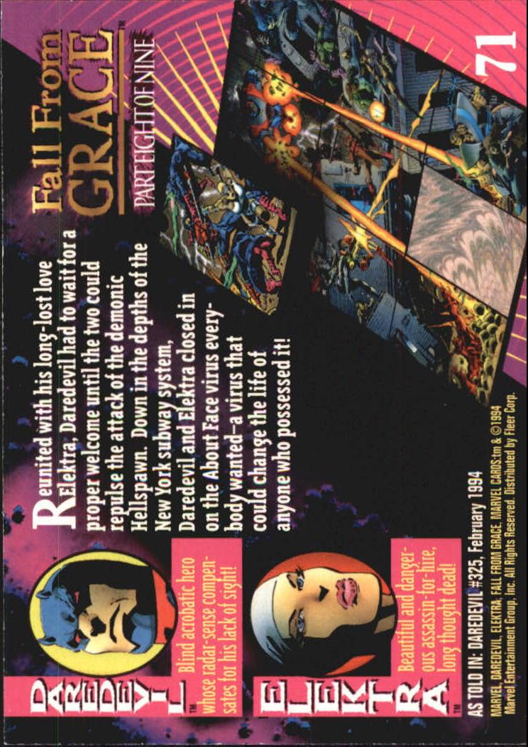 1994 Marvel Universe V #71 Elektra and Daredevil back image