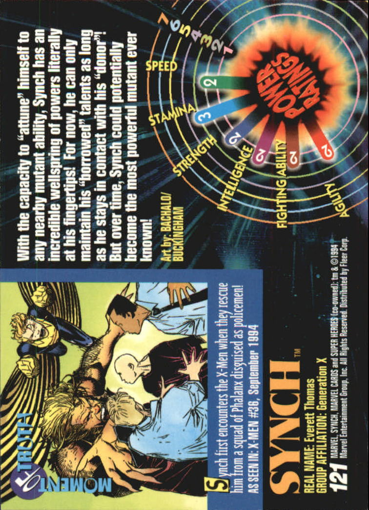 1994 Marvel Universe V #121 Synch back image