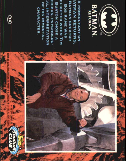 1992 Batman Returns Stadium Club #24 A consultant on Batman Returns back image