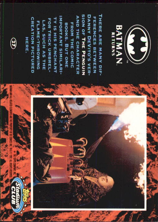 1992 Batman Returns Stadium Club #27 There are many differences back image