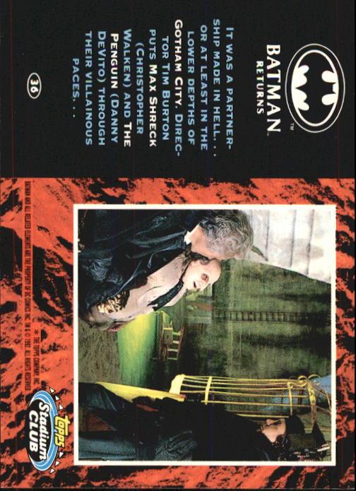 1992 Batman Returns Stadium Club #36 It was a partnership made in hell back image