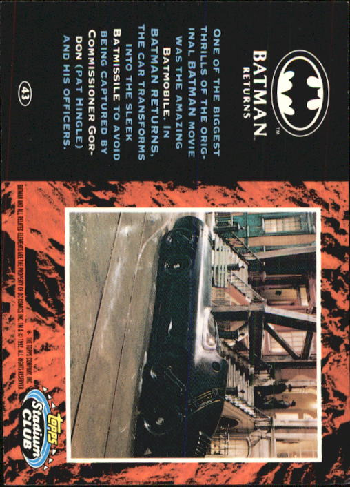 1992 Batman Returns Stadium Club #43 One of the biggest thrills back image