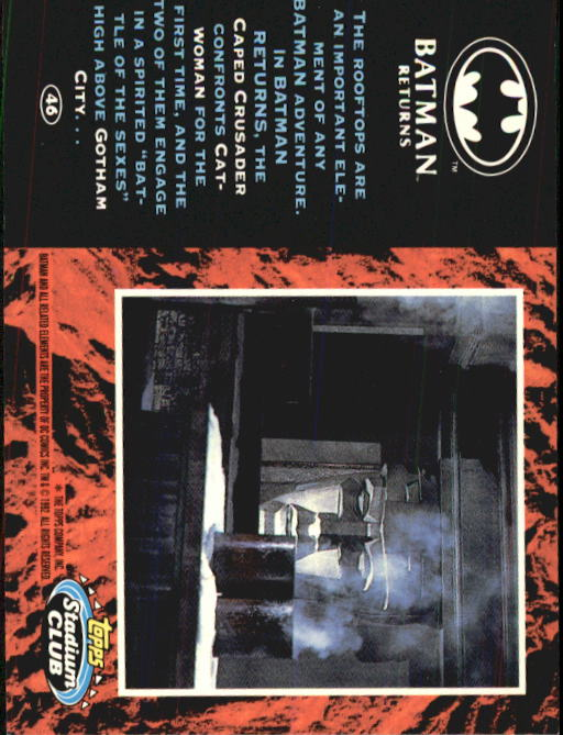 1992 Batman Returns Stadium Club #46 The rooftops are an important element back image