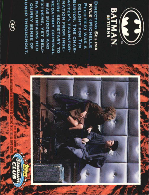 1992 Batman Returns Stadium Club #47 Directing Selina Kyle back image