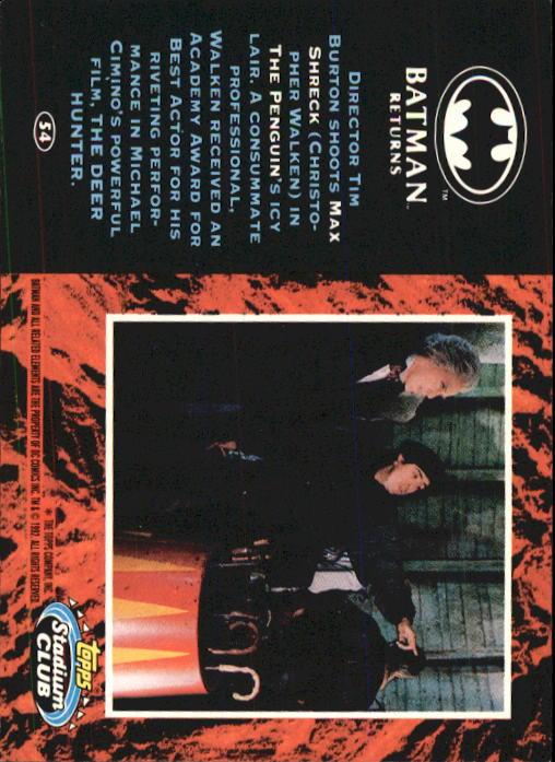 1992 Batman Returns Stadium Club #54 Director Tim Burton shoots Max Shreck back image