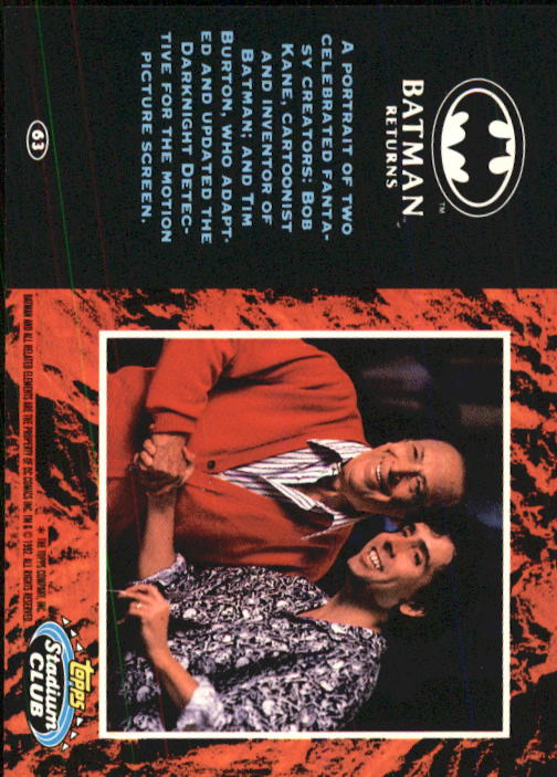 1992 Batman Returns Stadium Club #63 A portrait of two celebrated fantasy back image