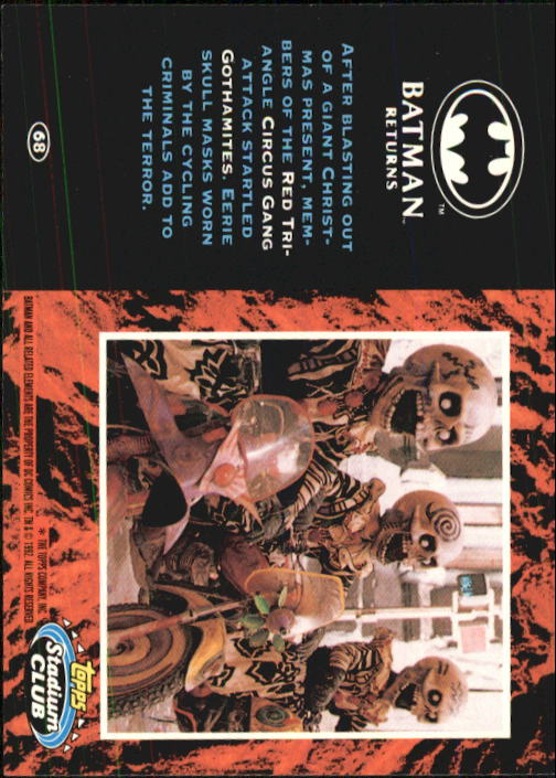 1992 Batman Returns Stadium Club #68 After blasting out back image