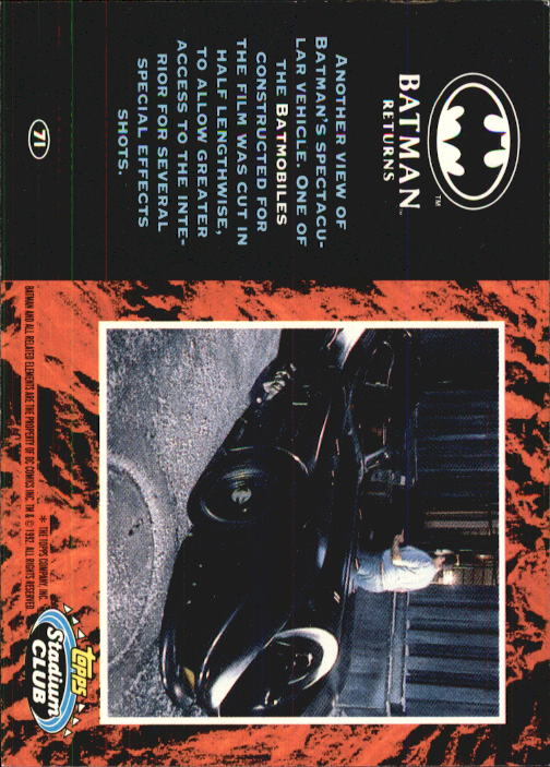 1992 Batman Returns Stadium Club #71 Another view of Batman's spectacular back image