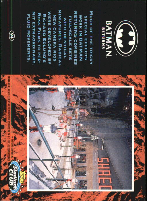 1992 Batman Returns Stadium Club #94 Much of the tricky special effects back image