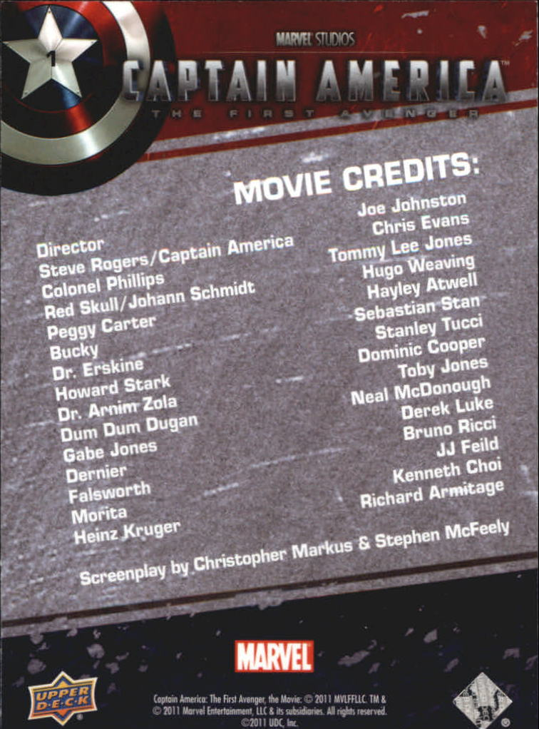2011 Captain America The First Avenger #1 Movie Credits back image
