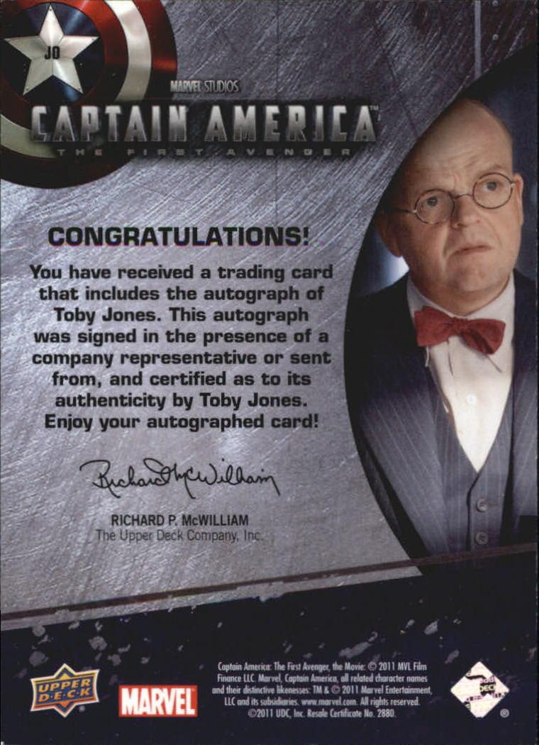 2011 Captain America Movie Autographs #JO Toby Jones back image