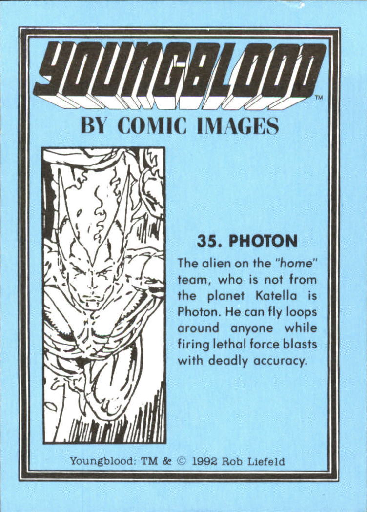 1992 Youngblood #35 Photon back image