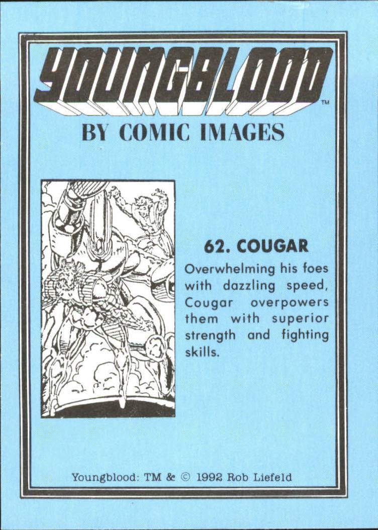 1992 Youngblood #62 Cougar back image