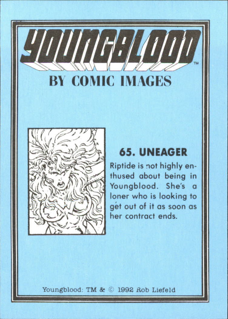 1992 Youngblood #65 Uneager back image