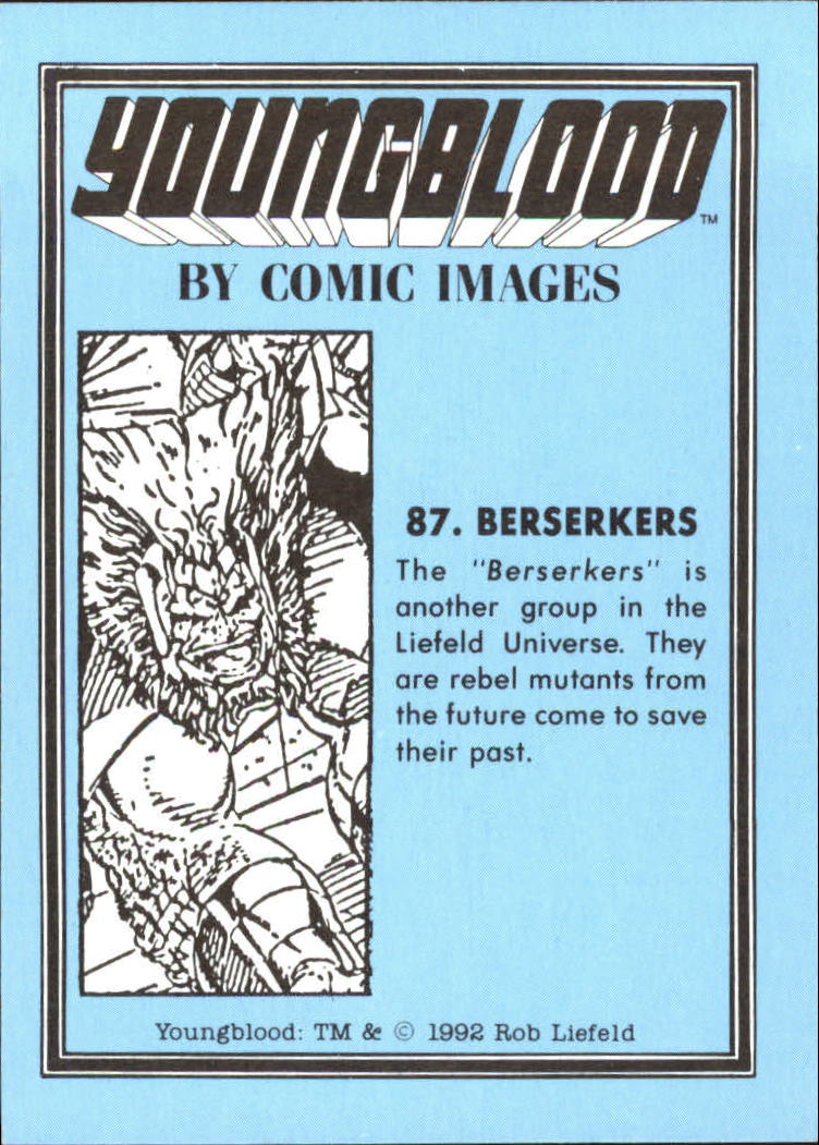 1992 Youngblood #87 Berserkers back image