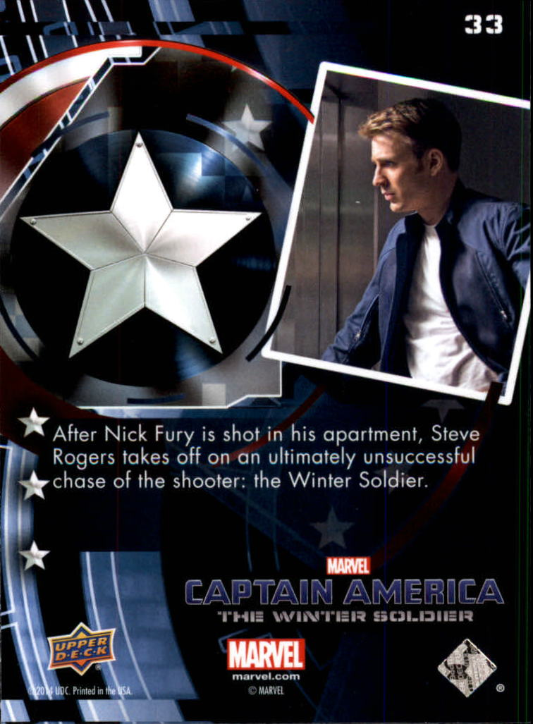 2014 Captain America The Winter Soldier Silver Foil #33 After Nick Fury is shot in his apartment, Steve Ro back image