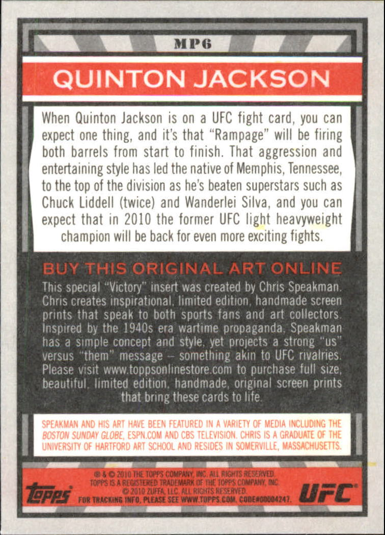 2010 Topps UFC Main Event Propaganda #MP6 Quinton Jackson back image