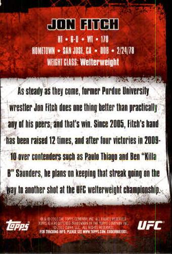 2010 Topps UFC #4 Jon Fitch back image