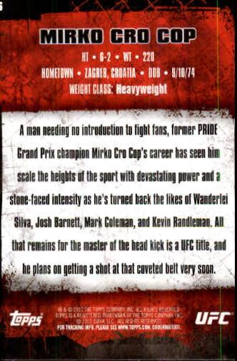 2010 Topps UFC #6 Mirko Cro Cop back image