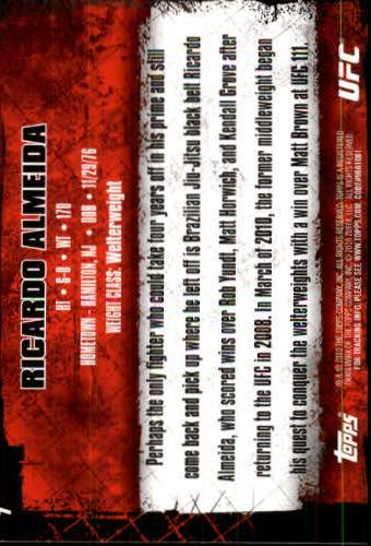 2010 Topps UFC #7 Ricardo Almeida back image