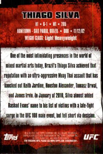 2010 Topps UFC #8 Thiago Silva back image