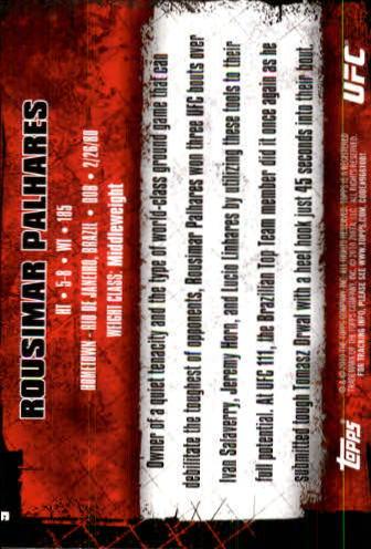 2010 Topps UFC #9 Rousimar Palhares back image