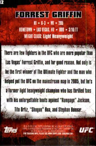 2010 Topps UFC #12 Forrest Griffin back image