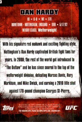 2010 Topps UFC #13A Dan Hardy back image