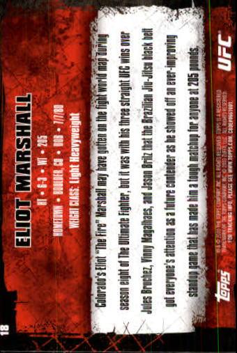 2010 Topps UFC #18 Eliot Marshall back image