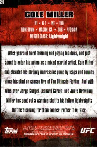 2010 Topps UFC #21 Cole Miller back image