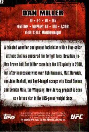 2010 Topps UFC #22 Dan Miller back image