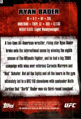 2010 Topps UFC #32A Ryan Bader back image