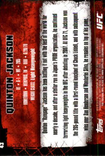 2010 Topps UFC #43A Quinton Jackson back image