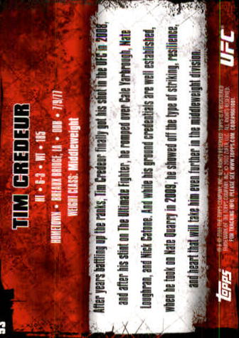 2010 Topps UFC #53 Tim Credeur back image