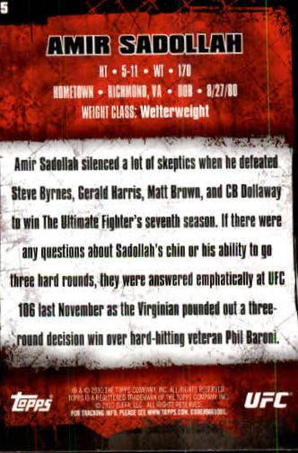2010 Topps UFC #55 Amir Sadollah back image