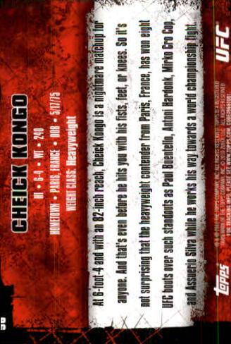 2010 Topps UFC #56 Cheick Kongo back image