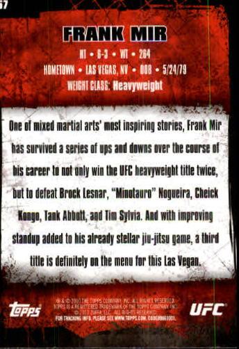 2010 Topps UFC #57 Frank Mir back image