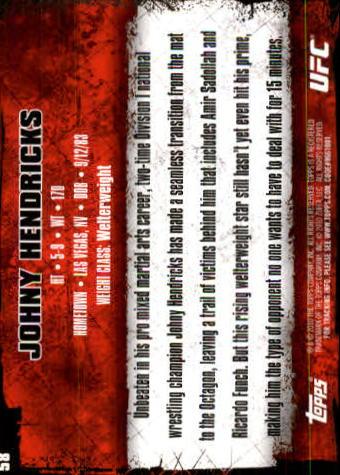 2010 Topps UFC #58 Johny Hendricks back image