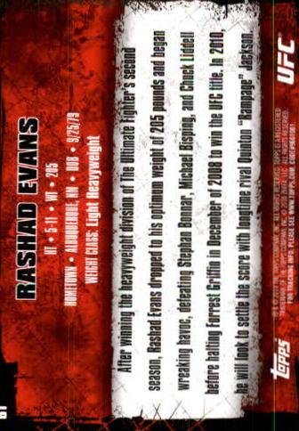 2010 Topps UFC #61 Rashad Evans back image