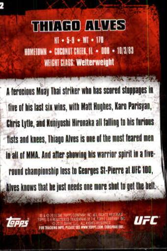 2010 Topps UFC #62 Thiago Alves back image