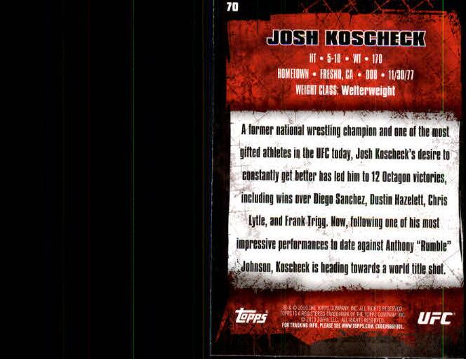 2010 Topps UFC #70 Josh Koscheck back image