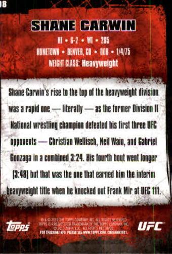 2010 Topps UFC #98 Shane Carwin back image
