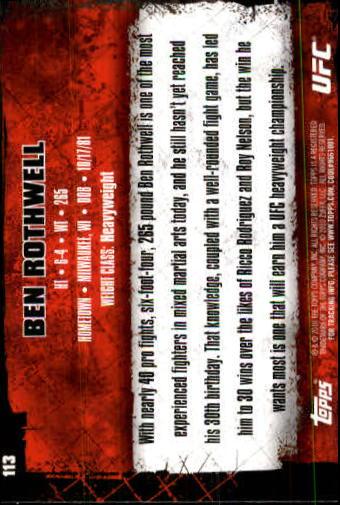 2010 Topps UFC #113 Ben Rothwell back image