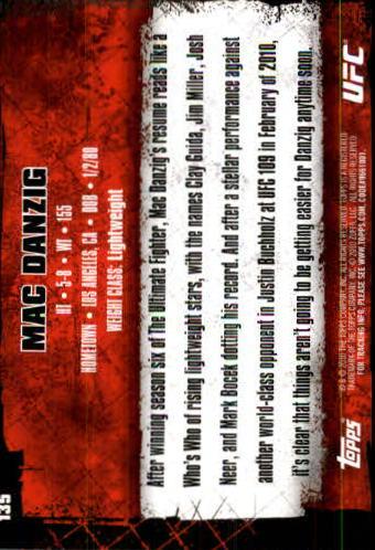 2010 Topps UFC #135 Mac Danzig back image