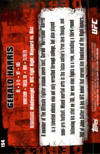 2010 Topps UFC #154 Gerald Harris back image